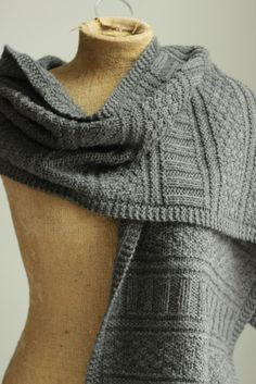Knitting Pattern: knit guernsey wrap found at A Common Thread.  This pattern is so beautiful; I love the details.