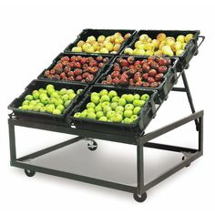 These produce display tables are 48 x 48 x 42 (L x W x H) and allow for multiple types of fruit and vegetables to be displayed in one area. These produce display tables are available now at Hubert. Vegetable Rack, Fruit And Vegetable Storage, Vegetable Crates, Fruit Storage, Produce Displays, Fruit Displays, Folding Table Diy, Small Store Design, Food Truck Interior