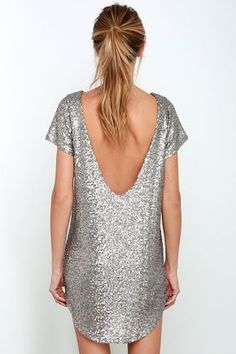 You'll sparkle and shine into the after party in the Amuse Society Midnight Silver Sequin Dress! Silver sequins cover this sexy shift with cutouts and low dipping back. Short Black Sequin Dress, Silver Sequin Dress, Sequin Party Dress, Sexy Dresses, Short Dresses, Formal Dresses, Dresses Uk, Dance Dresses, Dress Long