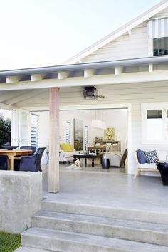 love the polished concrete deck/stairs Concrete Patios, Concrete Porch, Cement Patio, Concrete Steps, Concrete Floors In House, Poured Concrete Patio, Concrete Backyard, Deck Flooring, Polished Concrete Flooring