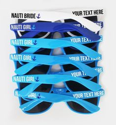 a20960172c3 Nauti Bride   Nauti Girl Custom Text Nautical Themed Bachelorette Bridal  Party Wedding Sunglasses Fa
