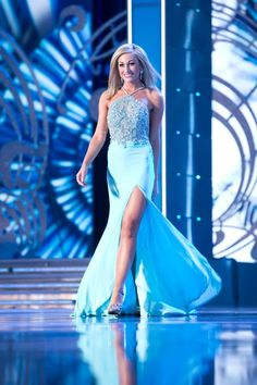 Miss Utah Ciera Pekarcik was glowing as she took to this stage in this Mac Duggal Pageant Collection gown in Aqua, during the Miss America 2014 evening gown preliminaries.