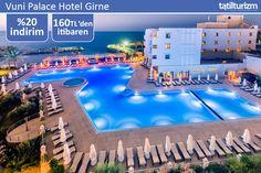 Vuni Palace Hotel'in özel kum plajında Girne sahilinin tadını çıkarmak 160 TL'den başlayan fiyatlarla…
