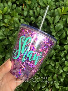 PINK Confetti Glitter Personalized Tumbler | Kid's Cup or Stemless Wine Tumbler…