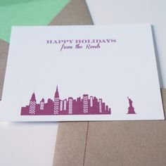 Personalized NYC Christmas Holiday Flat Cards by Dodeline Design - shop greeting cards, handmade stationery, & wedding invitations by dodeline design - 1