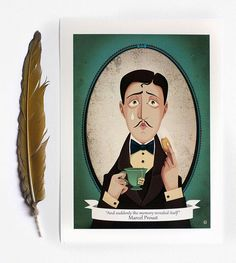Marcel Proust and the madeleine - And suddenly the memory...-Marcel Proust quote illustration - retro style print for book lover