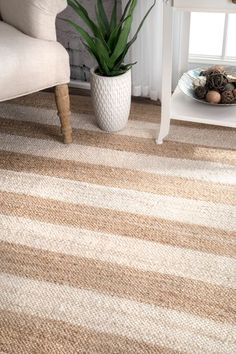 Boardwalk Jute And Denim Even Stripes Off White Rug Curtain Rings With Clips, Rectangle Area, Area Rugs For Sale, Farmhouse Interior, Rugs Usa, Buy Rugs, Striped Rug, Jute Rug, Contemporary Rugs