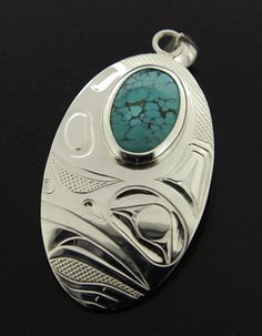 Justin Rivard Sterling Silver Frog Pendant with Turquoise, Northwest Coast Native Art