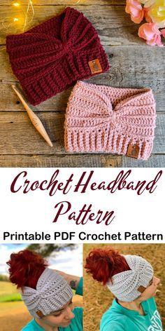 Crochet Ear Warmer Pattern, Crochet Headband Pattern, Crochet Beanie, Crochet Headbands, Knitted Headband, Baby Headbands, Crochet Crafts, Easy Crochet, Free Crochet