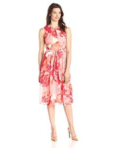 Jessica Howard Women's Printed Chiffon Fit and Flare Dress