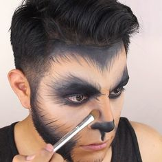 """I love this Halloween Costume. It does however require detail but it definitely pays off. Used: waterproof cream color in """"Jet"""" for all the black hair like detail and eyes. Liquid lipstick in """"Midnight"""" Mens Halloween Makeup, Yeux Halloween, Wolf Halloween Costume, Halloween Looks, Couple Halloween, Halloween Outfits, Werewolf Costume Diy, Halloween Stuff, Warewolf Costume"""
