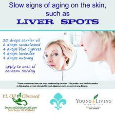 Nutmeg essential oil | EssentialOilObsessed.com.  Lavender, blue cypress, sandalwood, nutmeg, liver spots