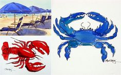 Beach Theme Watercolor Prints  Set of Three by lauratrevey on Etsy, $48.00