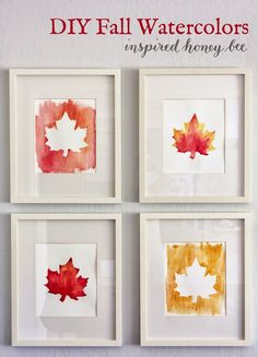 Inspired Honey Bee: craft: diy fall watercolor art home decor autumn