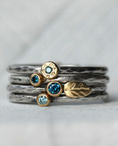 Blue Diamond Leaf Ring Set - 18k Gold and Silver Stack Rings