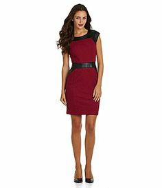 f8b2357c1b009 Marc New York FauxLeather Detail Textured Sheath Dress  Dillards Dillards