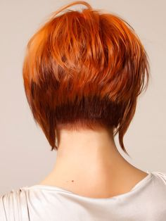 Stack Attack Lovely Red Stacked Style Back View~love this,plus I'm a red head.However,I'm starting to get some gray hairs popping up.so I would love to do this cut and have it dyed this multi dimensional color of auburns.