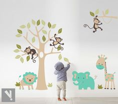 77 Children's Jungle Decoration - office room ideas - Home Jungle Decorations, Room Ideas, Children, Textiles, Home Decor, Decorate Walls, House Decorations, Happy Baby, Baby Room Design