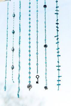Shades of Blue Bead Mobile Bead Hanging Sun by MelanyesCreations