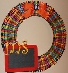 Love this wreath! @Brittany Horton DePasquale i will make you one of these when you get a classroom :]]