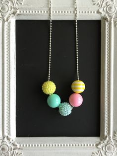 Yellow, pink and aqua silver ball chain bubblegum necklace by LilchicboutiqueLIC on Etsy