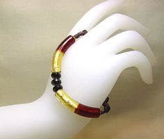 Garnet bracelet  Dark red gold Murano bracelet by ShopPretties, $65.00