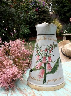 Antique Hand Painted French Body Pitcher Pink Foxg