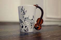 Violin Coffee Mug, New Creative Guitar Music Handgrip Mug, Ceramic Mugs Coffee Cup/Novelty Gift, Black Stave Cup Mug