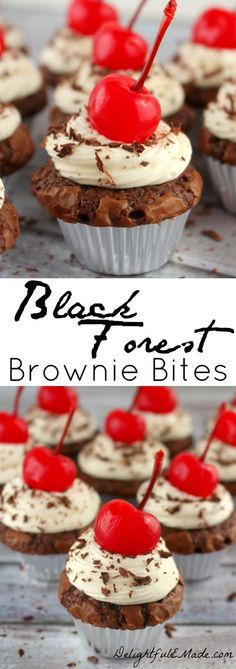 The classic cake turned into a brownie!  Fudgy, delicious mini brownies topped with a luscious whipped cream cheese frosting, and a maraschino cherry.