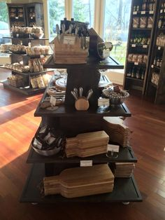 Gourmet rustic wood retail store fixture gondola ideas awesome display custom staining available shelf Retail Fixtures, Store Fixtures, Shop Window Displays, Store Displays, Retail Displays, Visual Merchandising, Retail Shelving, Store Shelving, Gondola Shelving