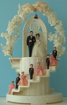 BIG Vintage 1960s STAIRCASE ALTAR Wedding Cake Topper