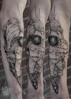 Astronaut by Koit Tattoo Berlin / travelling worldwide. Black forearm graphic style tattoo design. #ink #inked #tattooideas #tattoos #berlin