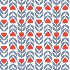 """Stylized red tulips in a graphic, Scandinavian style, this print blends floral and geometric qualitiesin this2-way print.100% organic cotton poplin, 45"""" wide"""