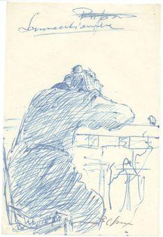 E. Besozzi pitt. 1946 Sonnicchiare inchiostro su carta velina cm. 15,5x10,5 arc. 9