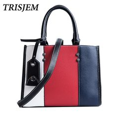 b8052f78a8 Aliexpress.com   Buy TRISJEM sacolas bolsas pannelled tote bags handbags  women famous brands luxury leather fashionable ladies hand bags from  Reliable ...