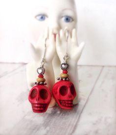 Skull earrings, sterling siover, red skull earrings, sugar skull earrings, day of the dead, gothic accessorries