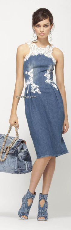 Ermanno Scervino Pre Collection 2013 ~ Super cute denim dress, denim shoes and… Lace Bustier, Lace Dress, Dress Up, Strapless Dress, Denim Fashion, Skirt Fashion, Estilo Jeans, Dresscode, Denim Ideas