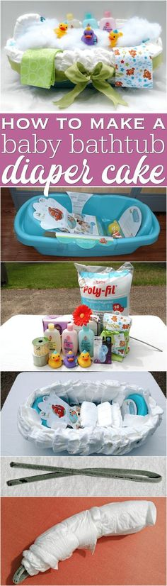 How to make a baby bathtub diaper cake tutorial DIY easy diaper cakes noroll diaper cakes instructions directions shower gifts bath tubs how to make a diaper cak. Deco Baby Shower, Fiesta Baby Shower, Shower Bebe, Baby Shower Parties, Baby Boy Shower, Shower Party, Baby Showers, Diy Shower, Shower Step