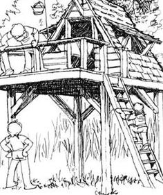 Kids Tree House Drawing how to build a tree house http://www.wilderness-survival