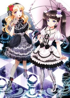 ✮ ANIME ART ✮ gothic lolita. . .black & white dresses. . .chess board. . .chess pieces. . .twin tails. . .ruffles. . .lace. . .ribbons. . .headdress. . .hair ribbons. . .stockings. . .parasol. . .cute. . .kawaii