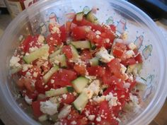 What's for lunch, friends!? I had a homemade Greek salad (diced cucumbers, tomatoes, feta, a sprinkle of Greek seasoning and olive oil!) #Vocalpoint
