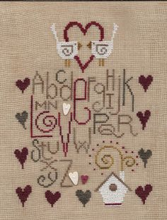 "Garden Grumbles and Cross Stitch Fumbles; Design - ""Love"" Designer - Bent Creek Fabric - 30 count R & R Flax Fields linen Fibers - GAST - 2 strands over 2 threads"