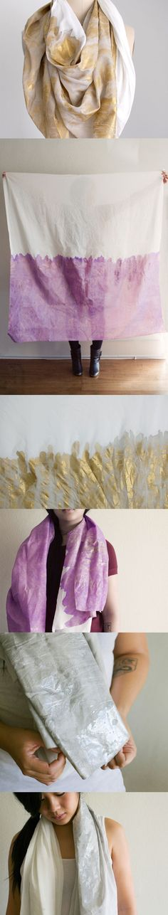 i totally think i could make a scarf like this with some metallic fabric paint.