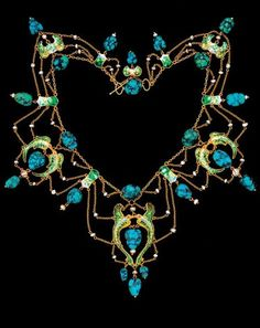 A superb 'Flying Fish' necklace, by James Cromar Watt, Scottish, circa 1909. Gold, enamel, turquoise and pearl. #CromarWatt #ArtsCrafts #necklace