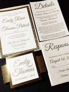 Blush and Gold Glitter Wedding Invitation, Luxury Wedding Invitation, Elegant Wedding Invitation, Formal Wedding Invitation, Blush and Gold