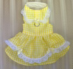 Dog clothes Yellow checker harness dress double ruffles w/ lace & bow Size 5 XXS
