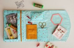 """Loving this new pattern from Aneela Hoey from Comfortstiching! It is the perfect little case to hold all of your """"sewing on the go"""" complete with needle storage, scissor pouch and a clear zippered pocket to see your epp's and Aurifil thread. To read more about this pattern please visit http://comfortstitching.typepad.co.uk/comfortstitching/2014/09/fold-over-sewing-pouches.html"""