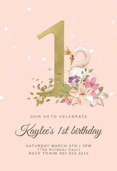First Birthday Invitation Cards, Free Invitation Cards, Free Birthday Invitation Templates, 1st Birthday Cards, Birthday Card Template, Balloon Birthday, Father's Day Card Template, First Birthdays, Golden Birthday