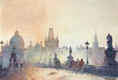 Dusan Djukaric, Prague, Watercolour, 57x38cm