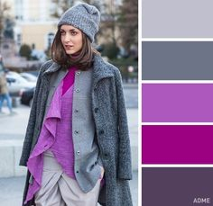 Outfits mujer, lila outfits, fashion color combinations, color combinations f Colour Combinations Fashion, Color Combinations For Clothes, Fashion Colours, Colorful Fashion, Colour Pallette, Colour Schemes, Color Trends, Color Combos, Cool Winter